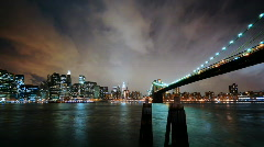 Brooklyn Bridge & Stylish Clouds - HD time lapse - stock footage