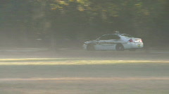 Police Car In The Mist Stock Footage