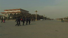 Soldiers patrolling on the Tiananmen Square in Beijing, China Stock Footage