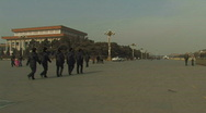 Stock Video Footage of Soldiers patrolling on the Tiananmen Square in Beijing, China