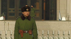 Guard at Tiananmen Square in Beijing, China - stock footage