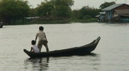 Stock Video Footage of kids in boat, Cambodia