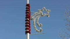 Christmas streetlight decoration. Stock Footage