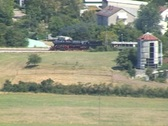 Stock Video Footage of Steam train passing through open fields