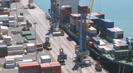 Container loading onto ship busy timelapse Stock Footage