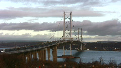 Firth of Forth Road Bridge, Scotland Stock Footage