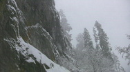 Stock Video Footage of Snowy cliff face.