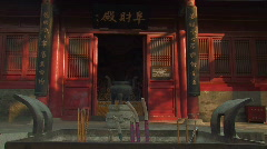 Incense burning inside a Taoist Temple in Beijing, China Stock Footage