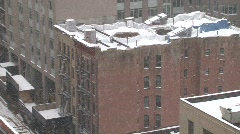 nyc brownstone roof snowing day - stock footage