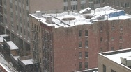 Stock Video Footage of nyc brownstone roof snowing day