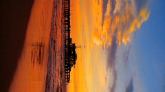 Vertical view of beach sunset - stock footage