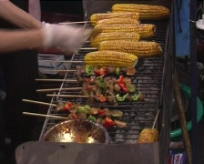 Grilled corncobs Stock Footage
