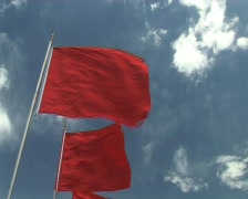 beijing Tiananmen square red flags chinese flag Stock Footage
