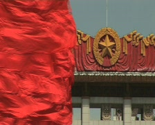 Tiananmen square red flags, chinese flag  Stock Footage