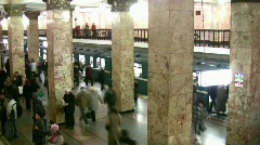 People on subway station. Time lapse. Filtered. No faces. Stock Footage