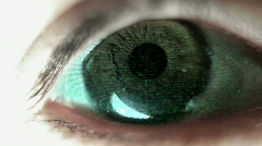 closeup of eye with tv static reflected - stock footage