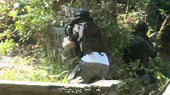 Airsoft Player Sneaking Up on Opponents Stock Footage
