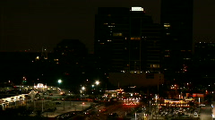 Nighttime skyline and traffic Stock Footage