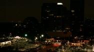 Nighttime skyline and traffic Stock Footage
