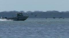 Small Coast Guard Boat Stock Footage