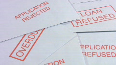 Debt. Loan refused envelopes Stock Footage