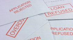 Debt. Loan refused envelopes - stock footage
