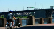 Stock Video Footage of Bicyclist in Waterfront Park Portland Oregon