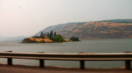 Driving By Columbia River Island Stock Footage