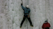 Stock Video Footage of men ice climbing together