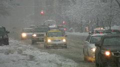 Snowstorm traffic. Stock Footage