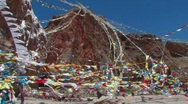 Stock Video Footage of Prayer Flags at the lake Namtso in Tibet