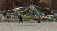 Tibetans walking the pilgrim at the lake Namtso in Tibet Stock Footage