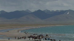 Horse Camp by the lake Namtso in Tibet Stock Footage