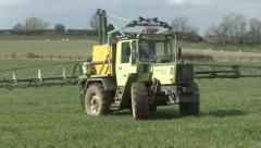 Crop sprayer turns - stock footage