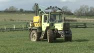 Crop sprayer turns Stock Footage
