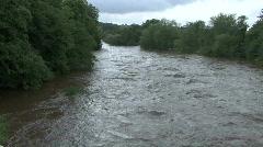 River Tees in flood at Piercebridge 4. Stock Footage
