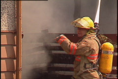Fire, house fire, firefighters and hoses, #1 Stock Footage