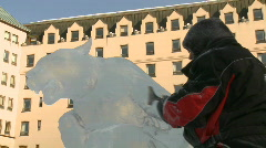 Ice Sculpture Carving 3b Stock Footage