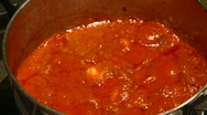 Food, delicious spaghetti sauce cooking Stock Footage