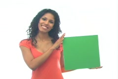 Beautiful Latina with Green Card-1a Stock Footage