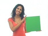 Stock Video Footage of Beautiful Latina with Green Card-1a