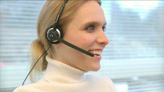 Professional Female Wearing Headset (5 of 7) Stock Footage