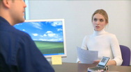 Professional Female Speaks with a Co-worker (11 of 12) Stock Footage