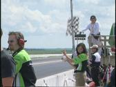 Motorsports, superbike race, checkered flag Stock Footage