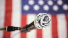 Vertical, American flag and microphone Stock Footage