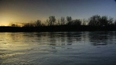 River at sunset Stock Footage