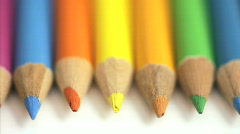 Rolling colored pencils Stock Footage