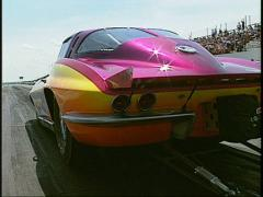 Motorsports, NHRA drag racing, super-comp Corvette launch Stock Footage
