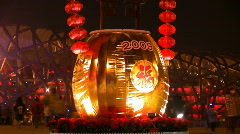 Street festivities in Peking. Olympic Games National Stadium  - stock footage
