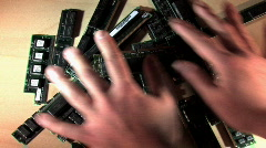 Slide Memory Sticks In/Out Stock Footage